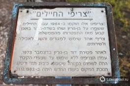 Надпись гласит, что в этих домах жили солдаты, которые охраняли Бен-Гуриона в киббуце. В одном из домиков они спали, в другом были душевые и туалеты.