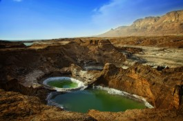 Воронки, образующиеся на Мертвом море, на иврите -