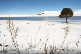 Заснеженное озеро.